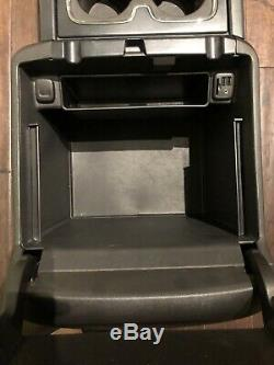14-18 Sierra Silverado Center Console Crew Black Leather Armrest Lid Cup Holder