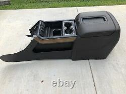 14-18 Sierra Silverado Center Console Crew Brown Leather Armrest Lid Cup Holder