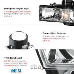 1988-1998 Chevy GMC C/K 1500 2500 3500 Chrome Projector Headlight Head Lamp PAIR