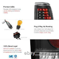1999-2006 GMC Sierra 1500 2500 3500 Black C-Shape LED Tail Lights Lamps LH+RH