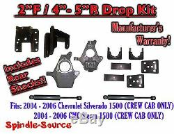 2004 2006 Chevy Silverado GMC Sierra CREW CAB 2/4 2/5 DROP KIT + SHOCKS