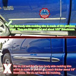 2007-2013 Chevy Silverado Crew Cab Chrome Flat Body Side Molding Trim 1.5 4Pc