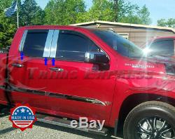 2019-Up Chevy Silverado/Sierra Crew+Double Cab Stainless Pillar Post Trim 6Pc