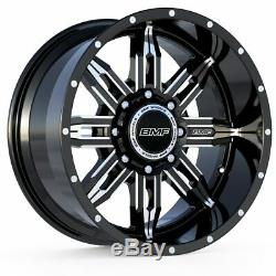 (4) 20X10 BMF Black & Milled Roulette Wheels 8x180 For Chevy/GMC 2500HD 3500HD
