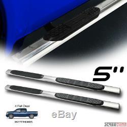 5 Chrome Stainless Side Step Bars Running Board 07-18 Silverado/Sierra Crew Cab