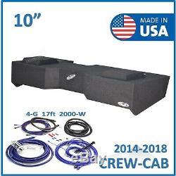 Chevy Silverado & Gmc Sierra Crew-Cab 10 sub box Subwoofer Enclosure + Amp kit