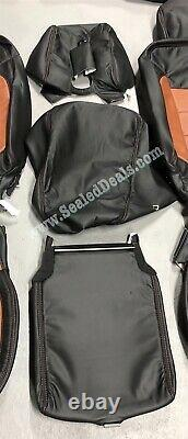 Chevy Silverado Lt Crew Cab Custom Katzkin Leather Seat Covers Black & Mahogany