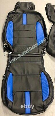 Chevy Silverado Lt Crew Cab Custom Leather Seat Replacement Covers Black & Blue