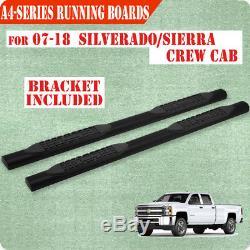 Fit 07-18 Silverado 1500 Crew Cab 4 BLK Running Board Nerf Bar Side Step A
