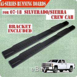 Fit 07-18 Silverado/Sierra 1500 Crew Cab 5 BLK Running Board Side Step Nerf Bar