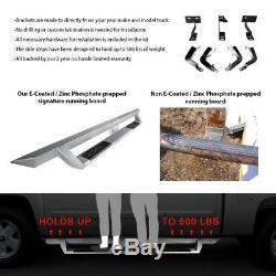 Fits 07-19 Chevy Silverado Sierra Crew Cab Side Step Bar Running Board Silver