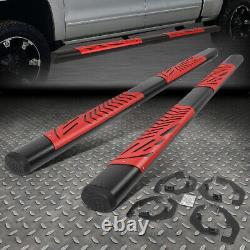 For 07-19 Silverado Sierra Crew Cab 5 Oval Red Cutout Step Bar Running Boards
