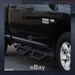 For 2007-2018 Silverado/Sierra Crew Cab Matte Blk Hoop Drop Step Side Bars Board