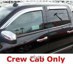 For 2014-18 Silverado Sierra 1500 Crew Chrome Plated Window Visor Rain Guard Set