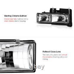 Glass Lens 1988-1998 Chevy Silverado Tahoe Suburban Sierra Cheyenne Headlights