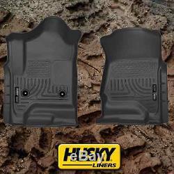 Husky Liners 2014-2018 Chevy Silverado Crew Cab Floor Mats Black Weatherbeater