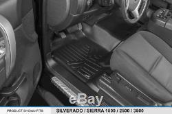 MAXFLOORMAT Floor Mats for Silverado/Sierra 1500/2500/3500 Crew Cab (Black)