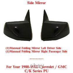 Manual Side Mirrors LH & RH Side For 1988-2002 GMC & Chevrolet C/K Series Pickup