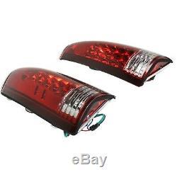Pair LED Tail Light for 1988-1999 Chevrolet K1500 & 1988-99 C1500 Clear/Red Lens