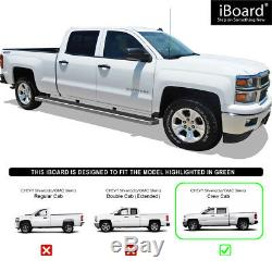 Premium Wheel-to-Wheel Side Steps Fit 07-19 Silverado/Sierra Crew Cab 6.5ft Bed