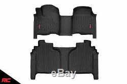 Rough Country Durable Floor Mats (fit) 2019 Silverado Sierra Crew Cab Bench Set