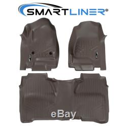 SMARTLINER 14-18 Silverado/Sierra 1500 / 15-20 2500/3500 Crew Floor Mats Cocoa