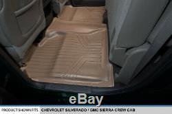 SMARTLINER 2014-2018 Silverado/Sierra Crew Cab Custom Floor Mats Liner Set Tan