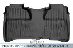 SMARTLINER 2014-2018 Silverado/Sierra Crew Cab Floor Mat Liner 2nd Row Black