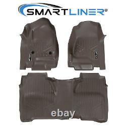 SMARTLINER Cocoa Floor Mats for 14-18 Silverado/Sierra 1500/15-20 2500/3500 Crew
