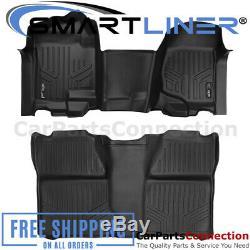 SMARTLINER FloorMats Blk For 07-14 Silverado/Sierra 1500-3500HD Crew A0296/B0020