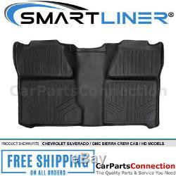 SMARTLINER Floor Mats For Silverado/Sierra Crew Cab 07-13 HD 07-2014 Black B0020