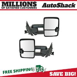 Side View Mirror Tow Power Heated Signal Black Pair 2 for GMC Sierra 1500 6.2L