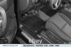 SmartLiner Floor Mats for Silverado Sierra 1500 2500 3500 Crew Cab Black