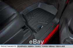 Smartliner 07-14 Silverado/Sierra 1500/2500/3500 Crew Cab Floor Mats Set Black