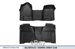 Smartliner 14-18 Silverado/Sierra 1500/15-19 2500/3500 Crew Cab Floor Mats Black