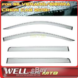 WELLvisors For GMC Sierra Chevy Silverado Crew Cab 19+ Window Visors Chrome Trim